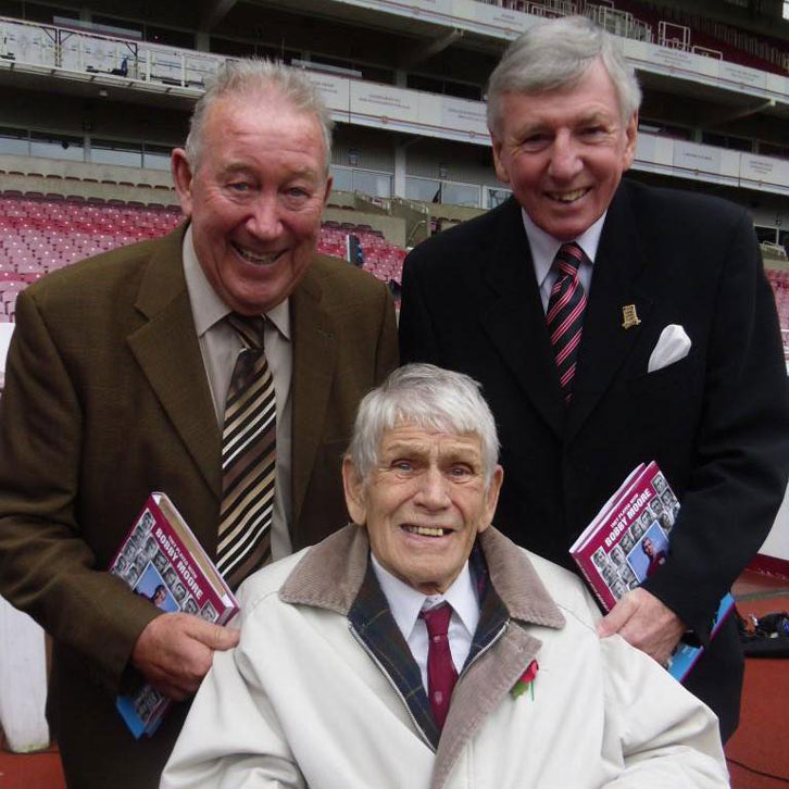 Lawrie Leslie with Ken Brown and Martin Peters at the Boleyn Ground in 2015
