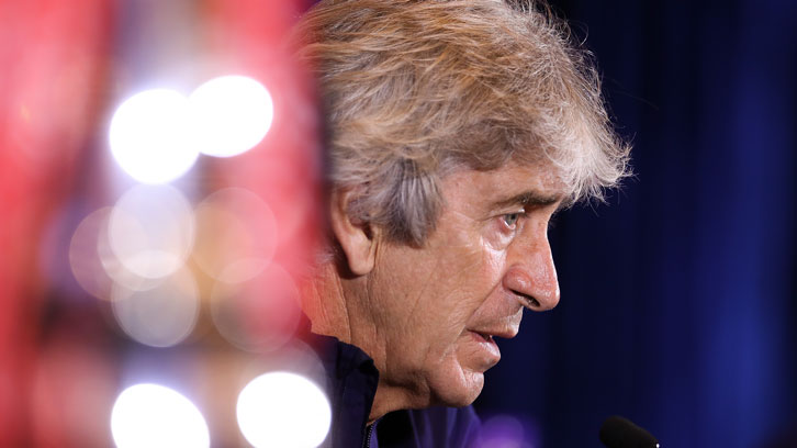 Manuel Pellegrini speaks to the media in Shanghai