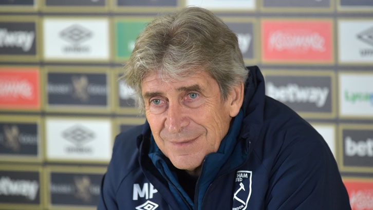 Manuel Pellegrini speaks to the media at Rush Green