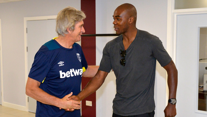 Manuel Pellegrini shakes hands with Angelo Ogbonna