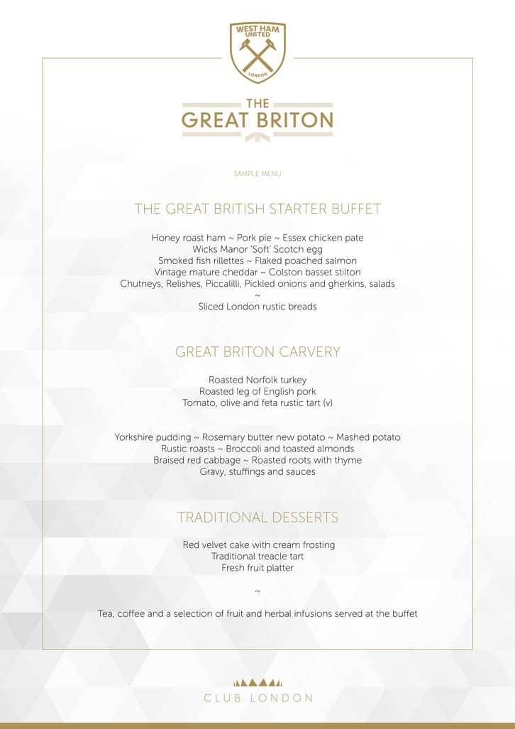 Great Briton sample menu