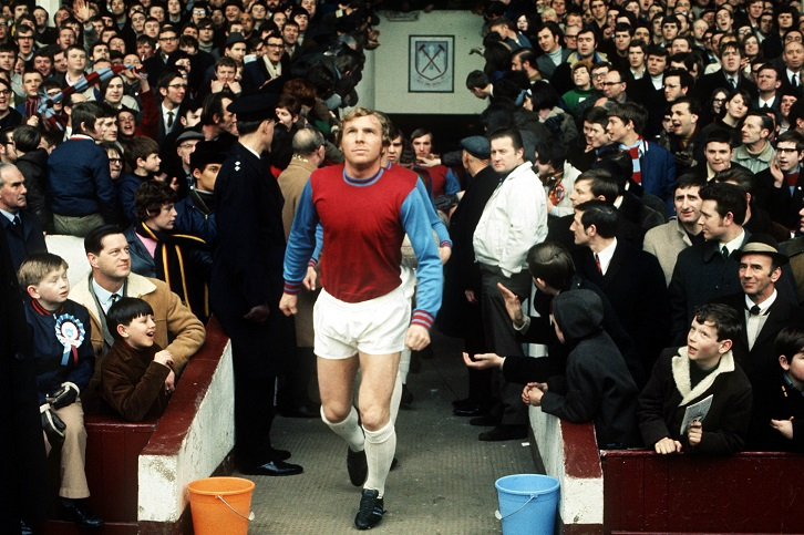 Bobby Moore leads the Hammers out at the Boleyn Ground