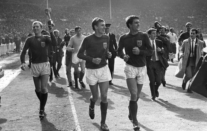 Bobby Moore, Martin Peters and Geoff Hurst celebrate winning the World Cup exactly 52 years ago