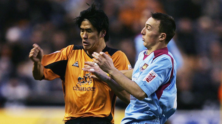 Mark Noble in action against Wolves on his full League debut in January 2005
