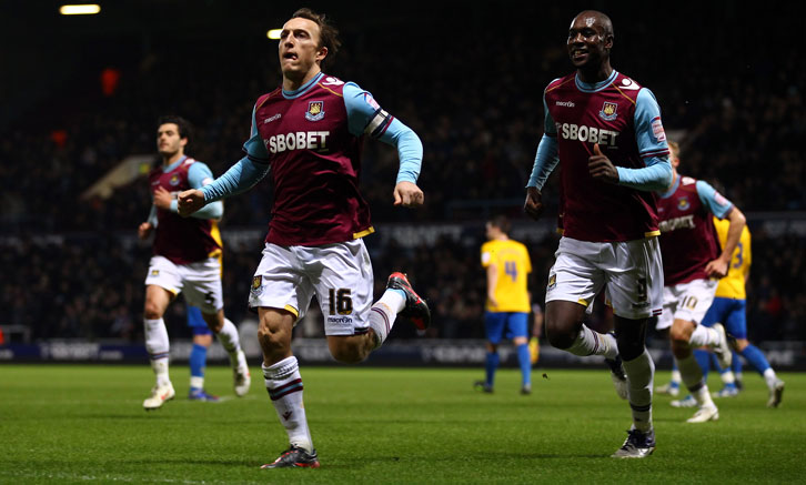 Mark Noble celebrates scoring against Southampton