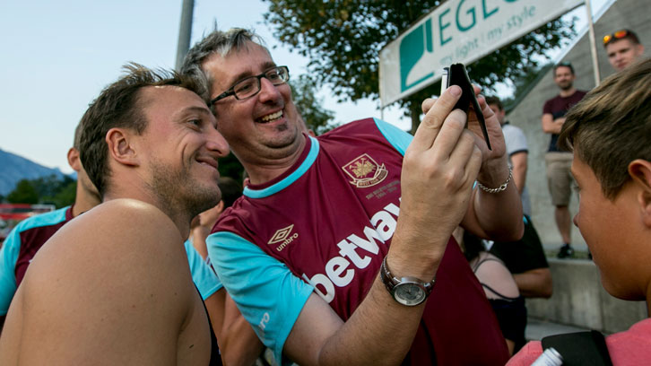 Mark Noble meets the Claret and Blue Army in Austria