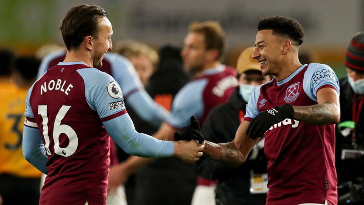 Mark Noble and Jesse Lingard celebrate at Wolves
