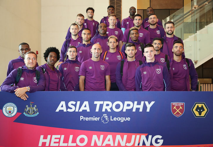 Mark Noble and the West Ham United squad arrived in Nanjing on Sunday