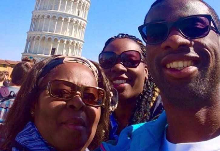 Pedro Obiang with his mother and sister