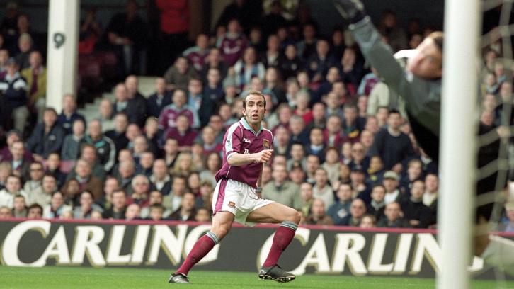 Paolo Di Canio scores his wondrous volley against Wimbledon