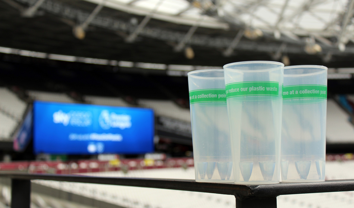 Resuable plastic cups at London Stadium