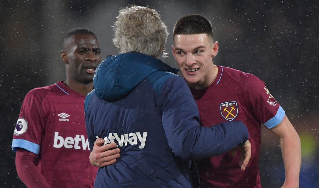 Manuel Pellegrini embraces Declan Rice