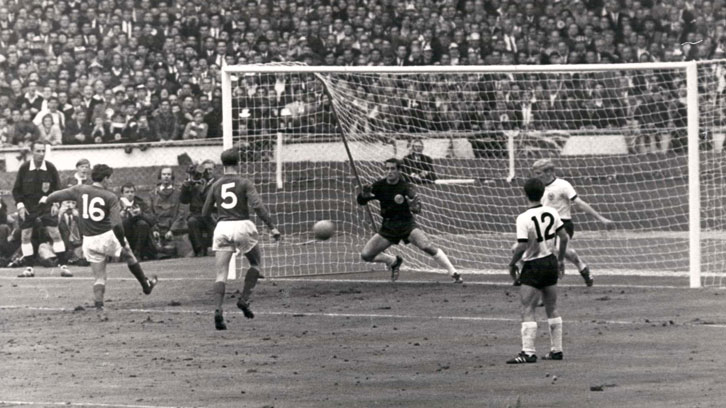 Martin Peters scores for England against West Germany in the 1966 FIFA World Cup final