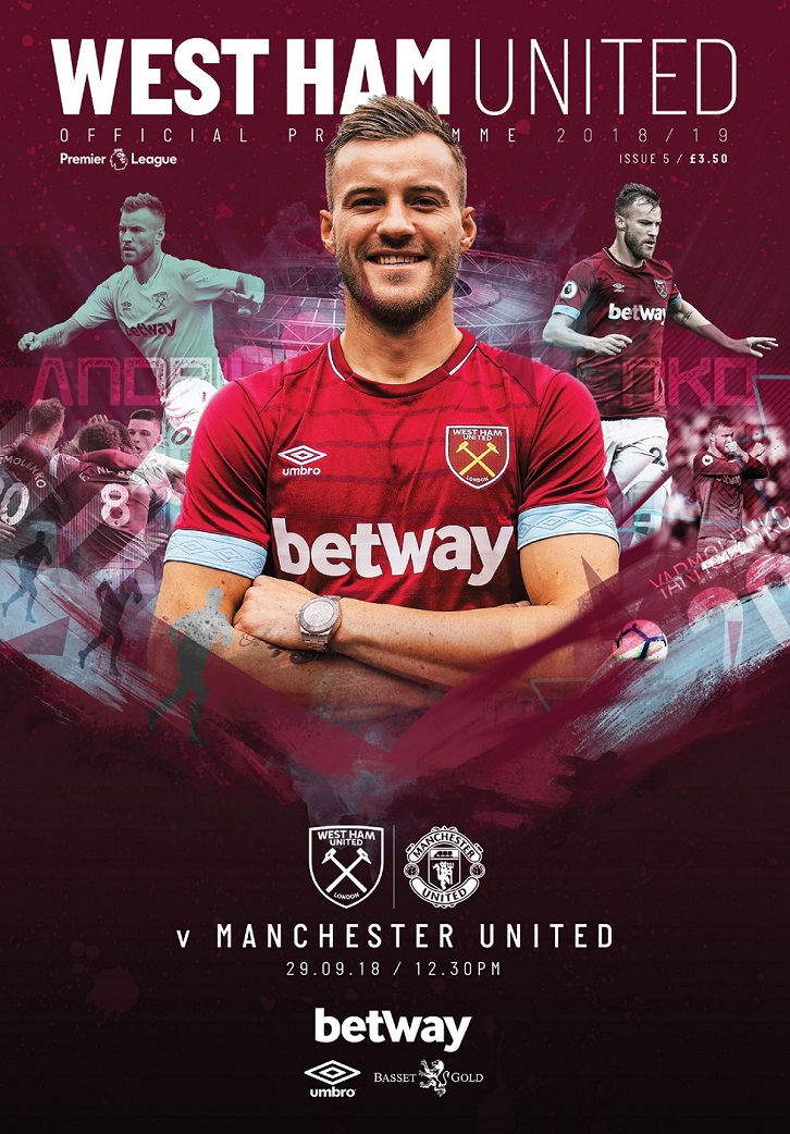 West Ham United versus Manchester United programme cover