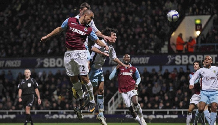 Winston Reid scores his first goal for West Ham United against Burnley in 2011