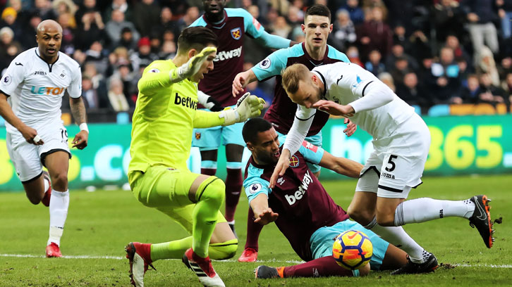 Winston Reid was injured in freak circumstances at Swansea City in March