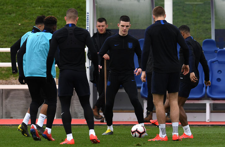 Declan Rice trains with England at St George's Park on Thursday