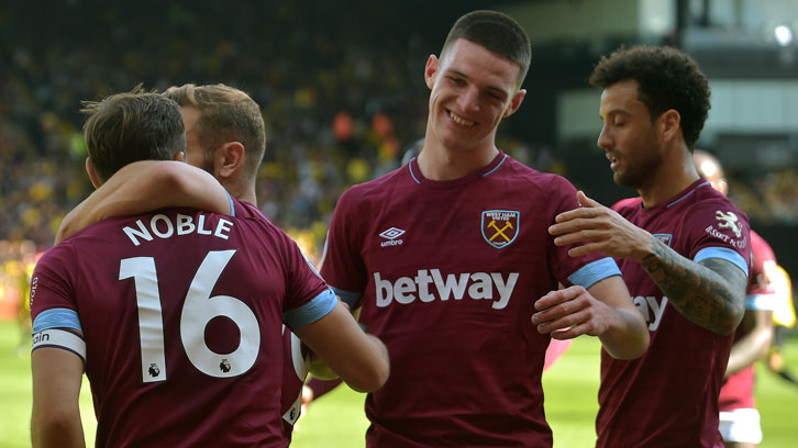 Declan Rice celebrates victory at Watford on Sunday
