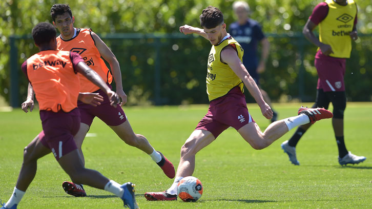 Declan Rice in training at Rush Green on Friday