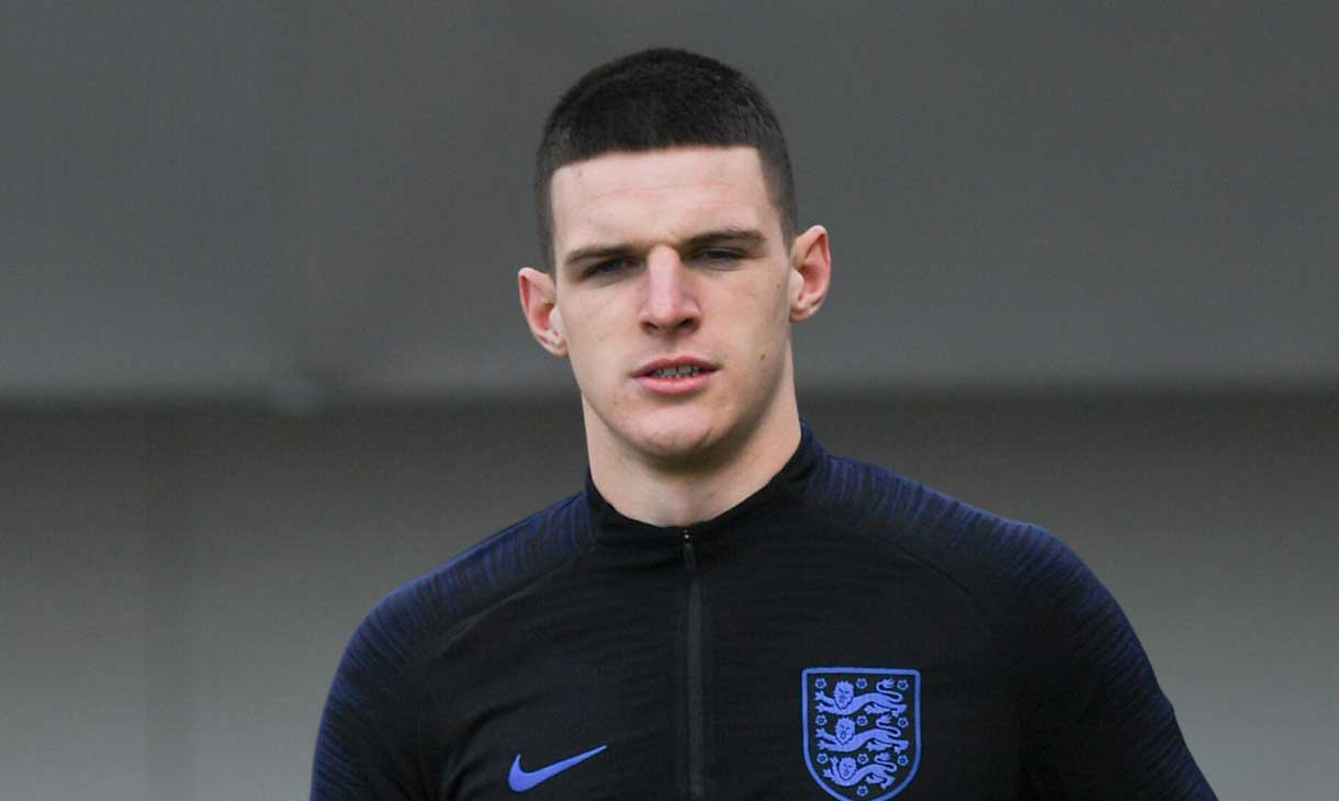 Declan Rice in training with England