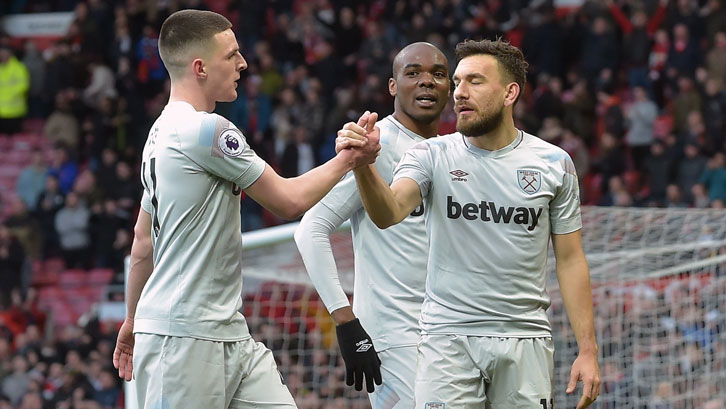 Declan Rice and Robert Snodgrass high five
