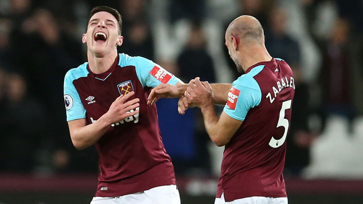 Declan Rice and Pablo Zabaleta celebrate victory over West Bromwich Albion