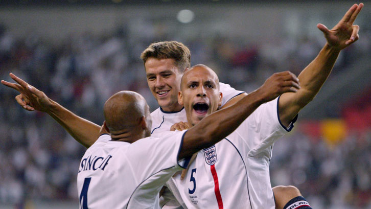 Rio Ferdinand celebrates scoring for England against Denmark at the 2002 FIFA World Cup finals