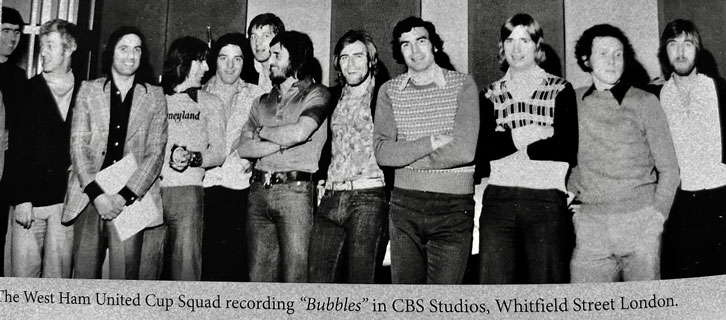 The West Ham United squad singing 'Bubbles' in the studio in April 1975