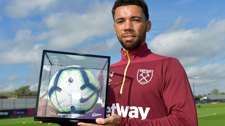 Ryan Fredericks with his Premier League Debut Football