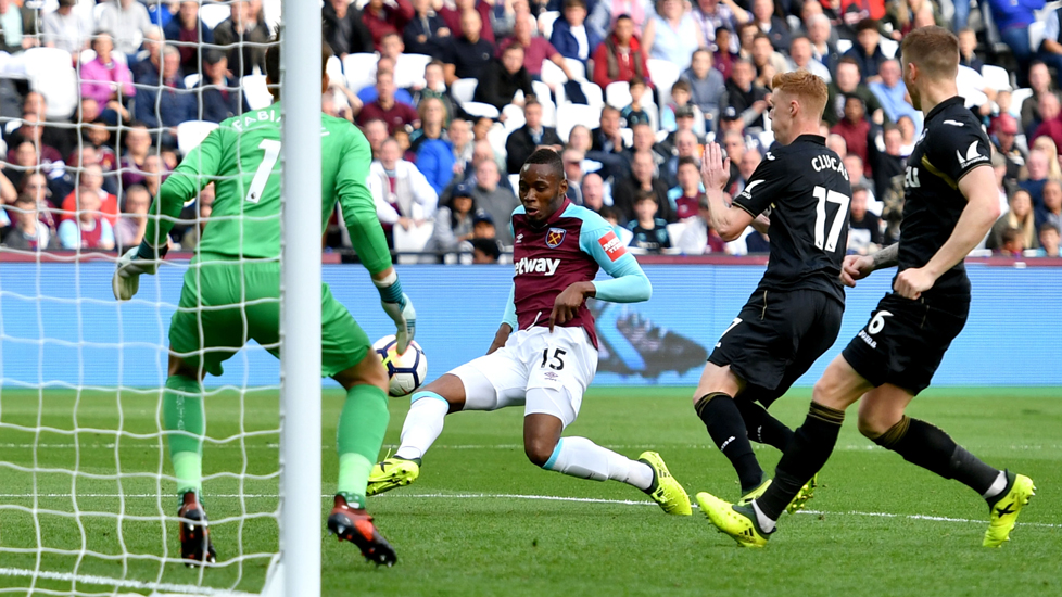 Diafra Sakho scores the Hammers' winner against Swansea