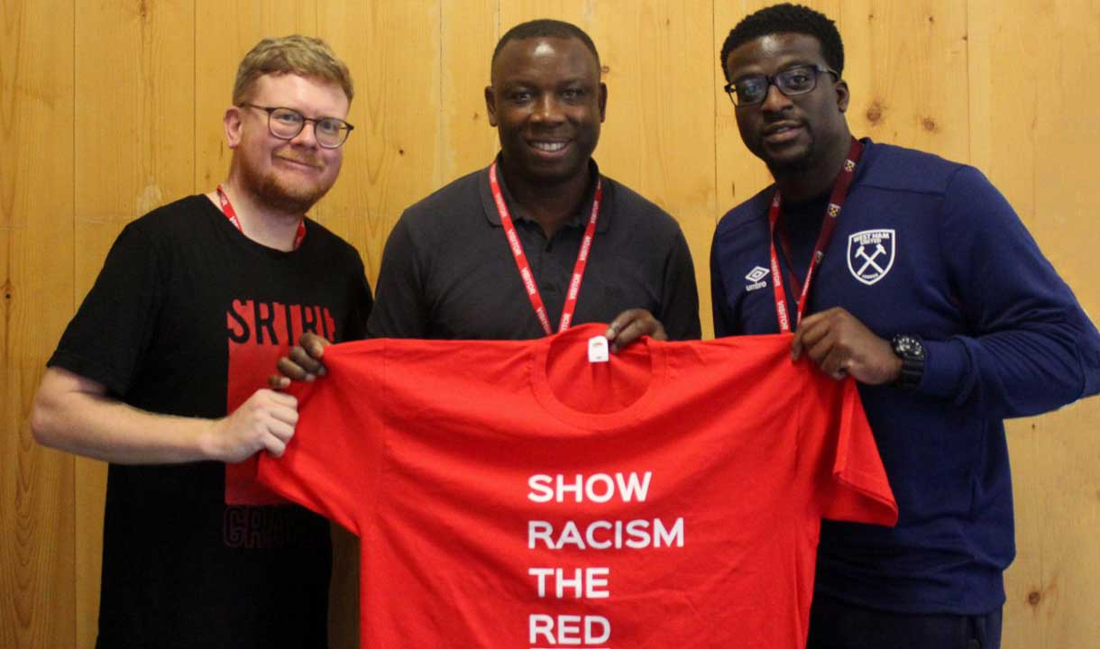 Left to right: Paul Hill (SRtRC), Leroy Rosenior, Josiah Oyekunle (WHU Foundation Learning Mentor)