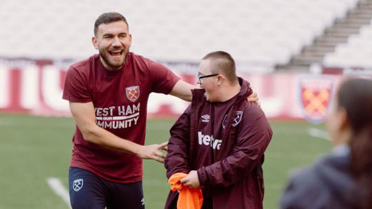 Robert Snodgrass at the launch of the Players' Project
