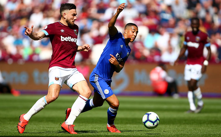 Robert Snodgrass in action against Leicester City at London Stadium