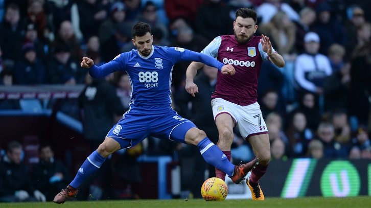 Robert Snodgrass in action for Aston Villa against Birmingham City