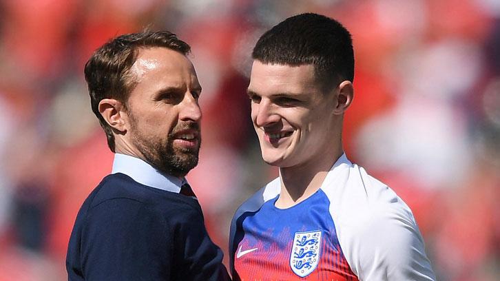 Gareth Southgate with Declan Rice