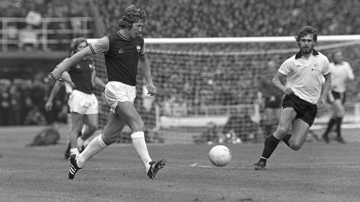 Tommy Taylor in action during the 1975 FA Cup final