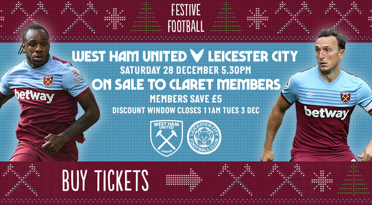 Buy tickets for West Ham United against Leicester
