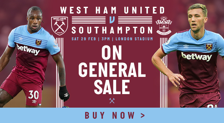 Buy West Ham v Southampton tickets