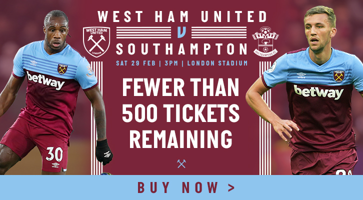 West Ham v Southampton tickets