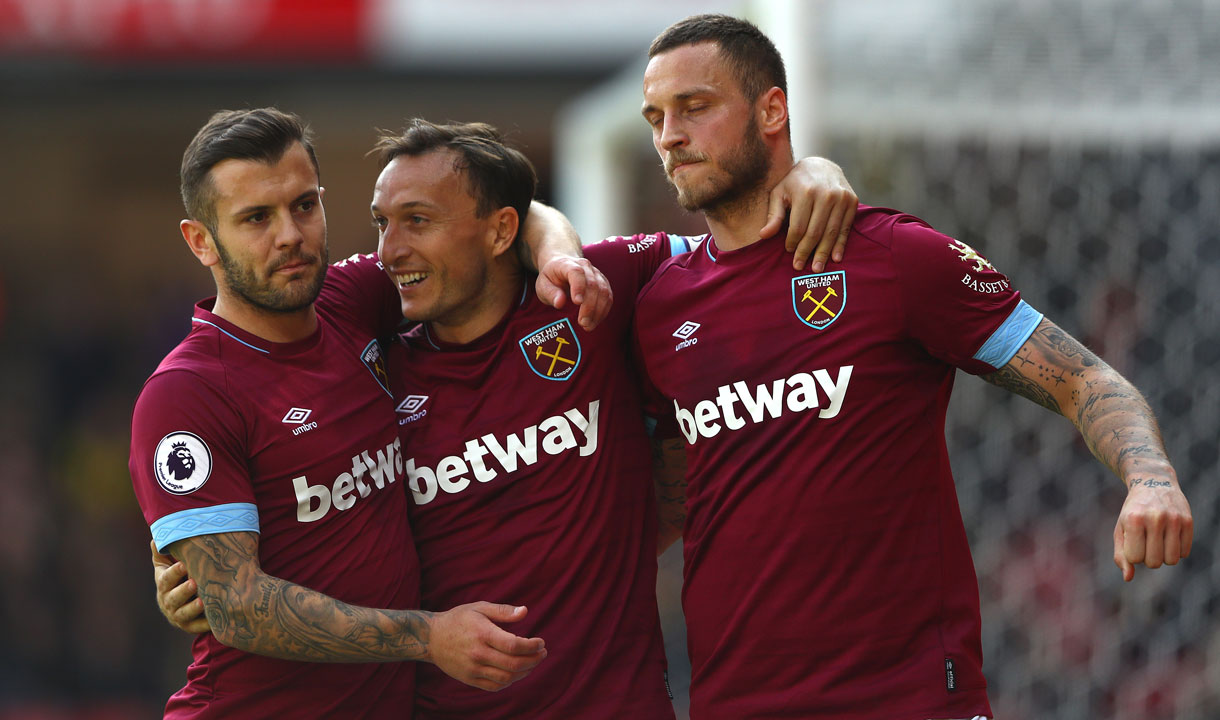 The Hammers celebrate their fourth goal at Watford
