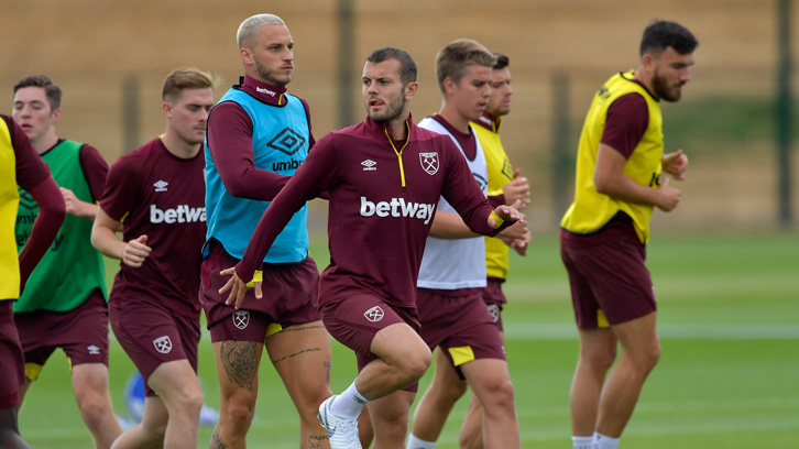 Jack Wilshere in training with his new West Ham United teammates at Rush Green