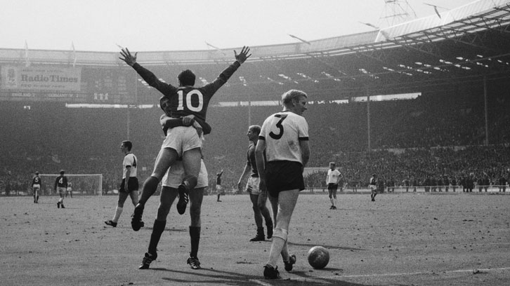 Sir Geoff Hurst celebrates scoring in the 1966 FIFA World Cup final