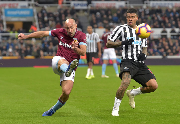 Pablo Zabaleta delivers a cross at St James' Park