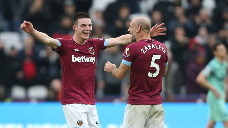 Pablo Zabaleta celebrates with Declan Rice