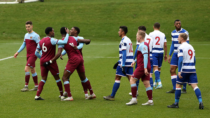 West Ham United U23s celebrate Adarkwa's goal against Reading