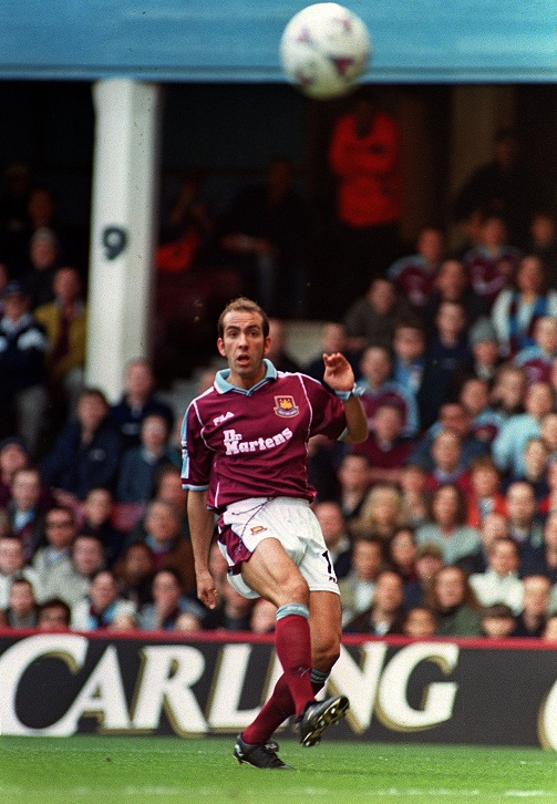 Paolo Di Canio watches his volley soar into the net