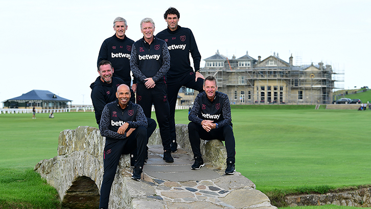 David Moyes with his backroom staff in St Andrews