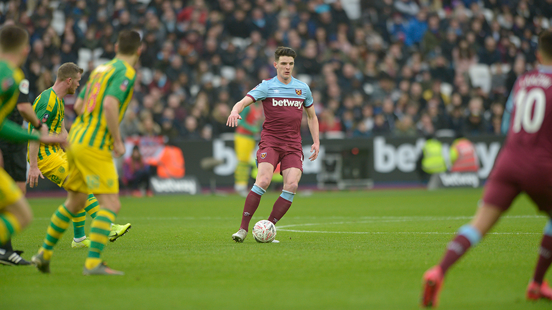 West Ham United midfielder Declan Rice against West Brom