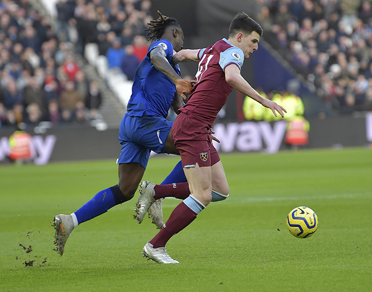 West Ham United's Declan Rice against Everton