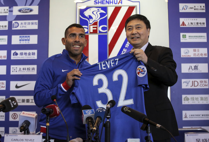 Carlos Tevez is unveiled by Shanghai Shenhua